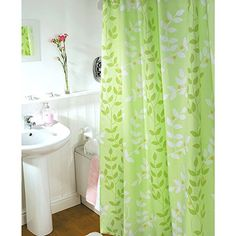 Uphome 72 x 72 Inch Square - Shower Curtain or Liner -  Green & White Leaf  - Waterproof - Anti-mildew - Anti-stain - Antibacterial - Durable Bath Curtain - Made of High-Grade Polyester Fabric - Not Cheap Material - No Healthy Concerns - Shower Curtain - Easy to Care - Wipe Clean - Machine Washable - Easy to Install - No Tool Need with 12 Plastic Hooks - Never Rust - Perfect Version - Enjoy Warm Bath Bathroom Decorative Shower Curtain - Elegant Drape (Green) Uphome