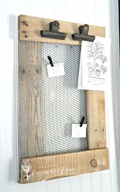 This is functional DIY decor made from pallet wood and chicken wire that's perfect for the kitchen.