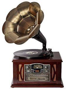 Gramófono clásico con CD CASSETTE/USB/SD/RADIO. Entrada USB/SD Radio estéreo AM/FM. Lector de CD/MP3 con carga frontal Tocadiscos con 3 velocidades 33/45/78 RPM. Cassette.
