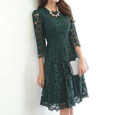 ドレス-ミニ・ミディアム 総レースフラワー七分袖ミドルAライドレス「全2色」