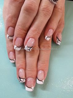 Nail Art Photo Taken at:19/09/2013 13:43:33 Nail Art Photo Uploaded at:19/09/2013 16:50:17 Nail Technician:Elaine Moore Description: white tips and freehand nail art over gel coatings @ www.eyecandynails.co.uk