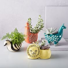Ceramic Animal Planters --Perfect for succulents or other small plants. - via West Elm @westelm