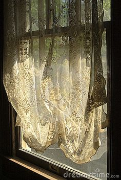 beautiful lace curtains ... now open the window, and let the brezze blow in .... ahhh ....