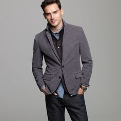 Corduroy jacket with jeans. Comfortable but formal enough.