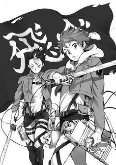 HQ! x AoT bw hinata nishinoya crossover haikyuu snk