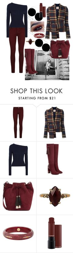 """""""Navy and Berry Perfect for Fall"""" by mel-c-n ❤ liked on Polyvore featuring SOREL, Paige Denim, Erika Cavallini Semi-Couture, Jacquemus, Aquatalia by Marvin K., Loeffler Randall, Chan Luu, Mark Davis, polyvorecontest and aquatalia"""