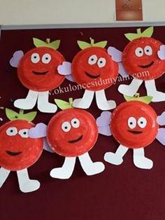Top 40 Examples for Handmade Paper Events - Everything About Kindergarten Paper Plate Crafts, Paper Crafts For Kids, Diy And Crafts, Fruit Crafts, Farm Crafts, Fall Arts And Crafts, Autumn Crafts, Kindergarten Art, Preschool Activities