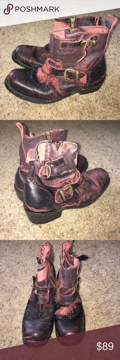 Bed stu red Moro buckle boots builder II eclipse Awesome distressed vintage look bed stu booties. Zips at the inside part and has 2 buckles on the other side. Called the builder II, color is called navy red eclipse. Please see pics carefully and closely as some parts are more distressed with the red than others. These boots are handmade so they do vary from each one. Bed Stu Shoes Ankle Boots & Booties