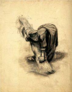 Peasant Woman Binding Sheaves - Vincent van Gogh