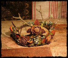 Faery Crown of natural materials Custom Order by pandorajane on Etsy https://www.etsy.com/listing/112843679/faery-crown-of-natural-materials-custom