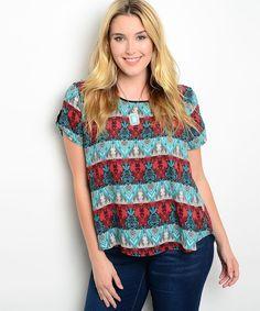 6775bb366d1834 Zenobia Striped Multi-Color Scoop Neck Short Sleeves Tunic Top Size 1XL-3XL   Zenobia  Tunic  Career