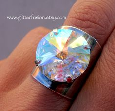 AB Transmission Swarovski Crystal Statement Ring, Iridescent Aurora Borealis Crystal Silver Wide Band Boho Ring, GlitterFusion Bohemian Ring Swarovski Jewelry, Resin Jewelry, Swarovski Crystals, Bohemian Style Jewelry, Bohemian Rings, Crown Earrings, Stone Wrapping, Wide Band Rings, Anna Wintour