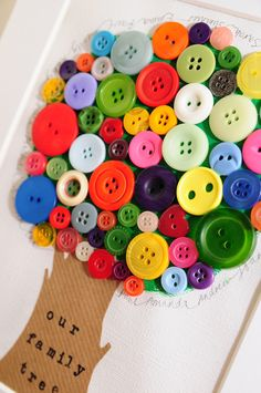 Personalised Family Tree Mixed Media Bright Button Art