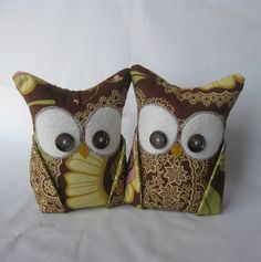 2 Owl bookends doorstops or paperweights Amy Butler by aprilfoss, $44.00