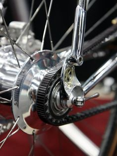 The most beautiful bike ever - Beautiful two-piece dropouts on this Krencker machine allows for the belt to pass through the rear triangle.