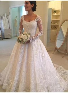 Ball-Gown Lace Long Sleeves Scoop Cathedral Train Wedding Dresses  (002147849) 7d08fdbf1d23