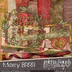 Christmas Digital Scrapbook Kit Clip Art - Digital Scrapbooking Christmas Kit - Merry BRRR Digital Papers & Embellishments