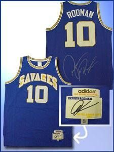 Dennis Rodman Signed Authentic Savages Blue Jersey