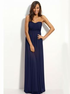 Sheath/Column Sweet heart Beading Sleeveless Floor-length Chiffon Royal Blue Prom Dress/Evening Dress
