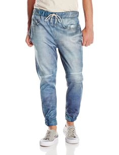 These are showing the use of denim for a style called joggers. Joggers reached their height of popularity in 2013 and has slowly decreased since then, but we still see a lot of buzz about this product. Joggers can be worn by both men and women and can be seen in many different fabrics and colors. The past picture of the joggers is an ad from gap in 2013. http://www.amazon.com/Elwood-Mens-Jean-Print-Jogger-Pant/dp/B00LTM9VZ8 3/28/16