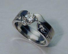 Interlocking engagement ring, wedding band set — Metamorphosis Jewelry