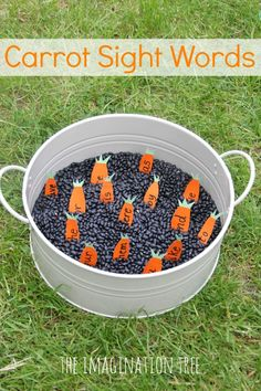 Set up a simple, fun sensory tub using lots of black beans tipped into a round gardening tray. Then write out lots of small words onto orange card with green card stuck to the top, then cut them out into carrot shapes. Bury them in the beans and present them with a mini trowel and spade and a list of the same words on carrot shapes drawn onto card. The idea is to dig for the carrots one by one, read the word then find its matching pair on the card.