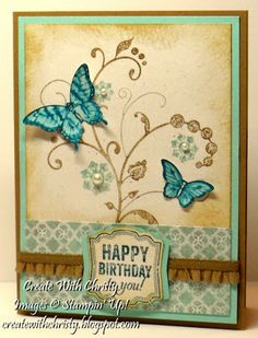 Stampin Up! Papillon Potpourri Birthday Card - Christy Fulk, Stampin Up! Demo