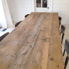 The leftover planks of old wood from my house renovation became my new rustic farmhouse table. I still have to sand and seal it. Rustic Farmhouse Table, Rustic Kitchen, Rustic Wood, Farmhouse Chairs, Rustic Cafe, Rustic Restaurant, Rustic Cottage, Rustic Outdoor, Rustic Signs