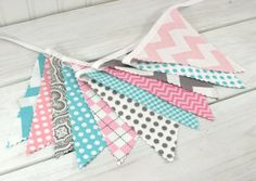 Bunting, Banner, Fabric Flags, Girl Nursery Decor, Wedding, Photography Prop - Pink, Gray, Aqua Blue, Grey, Chevron, Dots, Damask