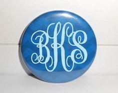 Blue Chevron Monogram / Blue Chevron Monogrammed 2.25 Inch Magnet