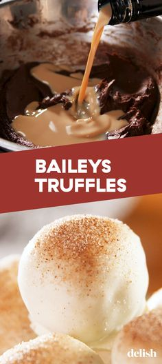 Truffles Baileys Truffles Will Get You LitDelish **Make them this way or use schnapps to make white chocolate peppermint**Baileys Truffles Will Get You LitDelish **Make them this way or use schnapps to make white chocolate peppermint** Bailey Truffles, Rum Truffles, White Chocolate Truffles, Pumpkin Truffles, Lemon Truffles, Coconut Truffles, Liquor Truffles Recipe, Chocolate Truffle Cake, Chocolate Recipes