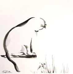 Hey, I found this really awesome Etsy listing at https://www.etsy.com/listing/187838657/cat-minimalist-original-watercolor