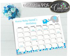 Now available at our store: Baby Shower Boy G.... Check it out here! http://snoopy-online.myshopify.com/products/baby-shower-boy-guess-baby-birthday-due-date-calendar-editable-with-aqua-blue-elephant-color-theme-printable-instant-download-ebl01