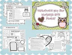 Valentine's Day Fun Language Arts Packet.  Easy to use printables for Valentine's Day. Includes parts of speech review, grammar, synonyms and antonyms, puzzles, and more.  $