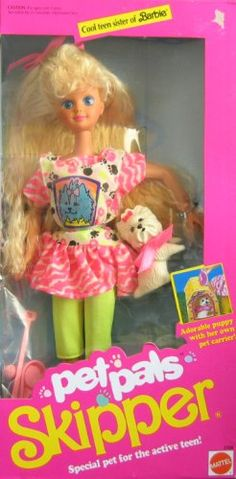 """Barbie Pet Pals SKIPPER Doll w Dog & Accessories (1991). Pet Pals Skipper Doll Special Pet For The Active Teen! is a 1991 Mattel production. Includes: Skipper Doll approx. 10"""" tall w/blond hair w/pink ribbon bow & blue eyes. Doll wears a pink & white Top, a pink & white Dress w/Dog Decal on front, a pair of yellow Bicycle Pants (Capris), a pair of Shoes, & Comes w/a white Terrier Puppy Dog approx. 2"""" tall w/soft pink Collar & Bow at neck, a pink Feeding & Water Dish, a pink Bone, a Ball, a…"""