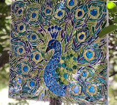 Pebble Mosaic, Mosaic Wall Art, Glass Wall Art, Mosaic Glass, Fused Glass, Royal Green, Mosaic Birds, Green Peacock, Home Art
