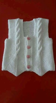 """[ """"cabled vest with lovely detail"""" ] # # # # # # # # # # Baby Cardigan, Baby Pullover, Knit Vest, Cardigan Pattern, Baby Knitting Patterns, Knitting Designs, Knitting Projects, Crochet For Kids, Crochet Baby"""