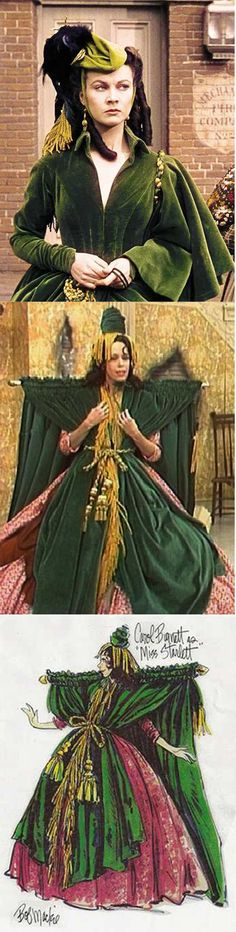 Scarlett O'Hara's green curtain dress from 'Gone With The Wind' and Carol Burnett's version by Bob Mackie