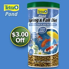 Spring pond care tip: Be sure to feed your fish wheat-germ-based pond food developed especially for a Spring diet. Use only when temperatures are below 50 degrees F, but above Wheat Germ, Ponds Backyard, Reptiles And Amphibians, Dog Houses, Goldfish, Fish Tank, Fish Recipes, Pet Supplies, Diet