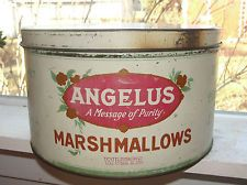 ANGELUS MARSHMALLOWS ADVERTISING TIN CONTAINER,MADE BY CRACKER JACK CO.ANTIQUE