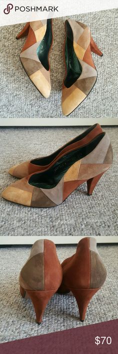 Vintage Suede Patchwork Pumps Suede uppers with leather lining and leather outsole. This is a vintage shoe and more than likely runs a little small. They have not been worn outdoors. The leather soles are still smooth. Excellent condition. Made in Italy. Franco Celin Shoes Heels