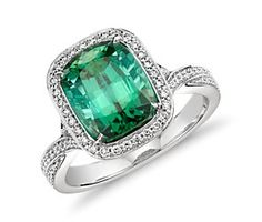 Mint Green Tourmaline and Diamond Halo Split Shank Twist Ring in 18k White Gold (3.49 ct.)