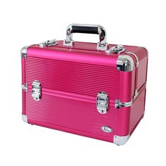 This durable makeup train case is available in a variety of colors and is crafted with aluminum and ABS. Adjustable dividers add convenience.