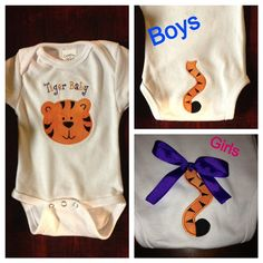 "LSU Tigers onsie with tiger tail  Tiger Baby boys or girls by HeartStringsSewing  Can change color or phrase to personalize for boys or girls.   Available from my Etsy shop ""Heart Strings Sewing"" at www.etsy.com/shop/heartstringssewing or my Facebook page www.facebook.com/heartstringsembroidery"