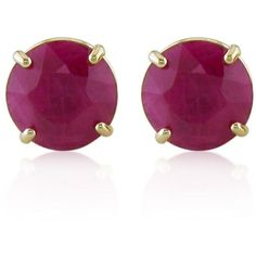 Belk  Co. Red 10K Yellow Gold Ruby Stud Earrings ($560) ❤ liked on Polyvore featuring jewelry, earrings, red, ruby earrings, stud earring set, gold jewelry, red jewelry and yellow gold ruby earrings