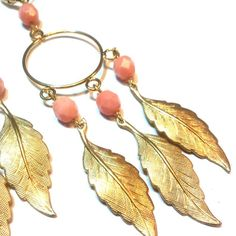 Feather Leaf Gypsy Earrings in Blush. Latest spring jewellery collection now available on line and in store at Etelage. http://www.etelage.com/About/jewellery