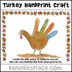 Thanksgiving Handprint Turkey Craft from www.daniellesplace.com
