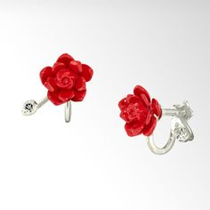 STAR JEWELRY |クリスマス限定商品 FLOWER & LEAVES(RED XMAS ROSE): イヤリング