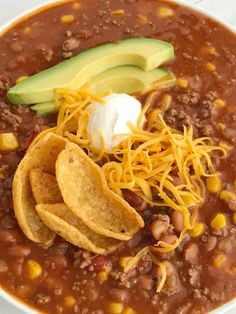 Easy Taco Soup is loaded with ground beef, chili beans, corn, and tomatoes. One pot and about 30 minutes is all you need for this taco soup recipe. Easy Taco Soup, Easy Soup Recipes, Dinner Recipes, Cooking Recipes, Healthy Recipes, Healthy Meals, Crockpot Recipes, Yummy Recipes, Dinner Soups