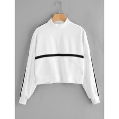 Striped Zip Up Front Sweatshirt (€15) ❤ liked on Polyvore featuring tops, hoodies, sweatshirts, white, embellished sweatshirts, long sleeve tops, zip up sweatshirts, striped sleeve sweatshirt and striped sweatshirt